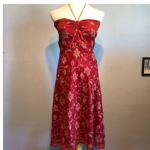 J-CREW Red & White Strapless Floral Dress-Size 6